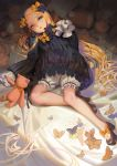 1girl abigail_williams_(fate/grand_order) alphonse_(white_datura) animal bangs bed_sheet black_bow black_dress black_footwear black_hat blonde_hair bloomers blue_eyes bow butterfly dress fate/grand_order fate_(series) forehead hair_bow hands_in_sleeves hat high_heels highres long_hair long_sleeves looking_at_viewer lying on_back orange_bow parted_bangs parted_lips polka_dot polka_dot_bow shoes solo stuffed_animal stuffed_toy teddy_bear underwear very_long_hair white_bloomers