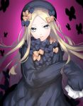1girl abigail_williams_(fate/grand_order) bangs black_bow black_dress black_hat blonde_hair blue_eyes bow butterfly commentary_request dress fate/grand_order fate_(series) hair_bow hands_in_sleeves hat head_tilt highres idupiyo long_hair long_sleeves looking_at_viewer object_hug orange_bow parted_bangs parted_lips pink_background polka_dot polka_dot_bow solo stuffed_animal stuffed_toy teddy_bear very_long_hair