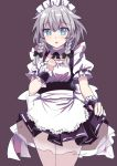 1girl apron black_bow blue_eyes bow braid commentary_request e.o. frills hair_bow hand_on_own_chest highres izayoi_sakuya looking_at_viewer maid_headdress parted_lips petticoat puffy_short_sleeves puffy_sleeves purple_background short_hair short_sleeves solo touhou twin_braids white_hair wrist_cuffs