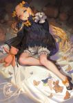 1girl abigail_williams_(fate/grand_order) alphonse_(white_datura) animal bangs bed_sheet black_bow black_dress black_footwear black_hat blonde_hair bloomers blue_eyes bow butterfly commentary_request dress fate/grand_order fate_(series) forehead hair_bow hands_in_sleeves hat high_heels long_hair long_sleeves looking_at_viewer lying on_back orange_bow parted_bangs parted_lips polka_dot polka_dot_bow shoes solo stuffed_animal stuffed_toy teddy_bear underwear very_long_hair white_bloomers