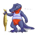 1boy akiduhaniwa alligator alligator_tail crocodilian doubutsu_no_mori fang fish furry simple_background solo white_background yamato_(doubutsu_no_mori)