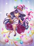 :d alternate_skin_color bag bittersweet_lulu bloomers bracelet candy candy_can cupcake food handbag hat heterochromia holding holding_food jelly_bean jewelry league_of_legends long_hair looking_at_viewer lulu_(league_of_legends) macaron open_mouth pink_skirt purple_footwear purple_hair skirt smile striped_hat underwear wand witch_hat