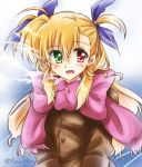 1girl asymmetrical_bangs bangs blonde_hair blue_background blue_ribbon bow breath brown_coat coat dasuto eyebrows_visible_through_hair green_eyes hair_ribbon heterochromia large_bow long_hair long_sleeves looking_at_viewer lyrical_nanoha mahou_shoujo_lyrical_nanoha_vivid open_mouth pink_bow pink_scarf red_eyes ribbon scarf smile solo standing twitter_username two_side_up upper_body vivio