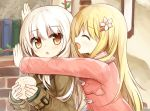 2girls :d ^_^ bangs baozi blonde_hair blush brick_wall brown_coat brown_eyes chestnut_mouth closed_eyes coat commentary_request eyebrows_visible_through_hair flower food hair_between_eyes hair_flower hair_ornament hairclip hands_up holding holding_food hug long_hair long_sleeves looking_at_viewer multiple_girls open_mouth original parted_lips pink_coat sleeves_past_wrists smile very_long_hair white_hair yuuhagi_(amaretto-no-natsu)