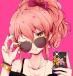 1girl adjusting_eyewear bangs bare_shoulders blue_nails bow bracelet cellphone collarbone earrings eyelashes grin hair_bow highres holding holding_cellphone holding_phone idolmaster idolmaster_cinderella_girls jewelry jougasaki_mika long_hair nail_polish necklace off_shoulder one_eye_closed phone pink_background pink_hair polka_dot polka_dot_bow ponytail ring ryuu. simple_background smile solo sunglasses yellow-framed_eyewear yellow_eyes