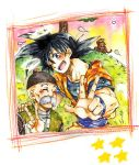 2boys ;d ake_(ake54) animal black_eyes black_hair bubbles_(dragon_ball) chinese_clothes closed_eyes dougi dragon_ball facial_hair grandfather_and_grandson grandpa_gohan grass halo hand_on_another's_shoulder happy hat looking_at_viewer male_focus monkey multiple_boys mustache one_eye_closed open_mouth smile son_gokuu spiky_hair star tree v
