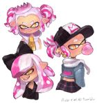 1girl alternate_hairstyle ava-riel bangs blunt_bangs blush bubble_blowing chewing_gum crown fang hime_(splatoon) mole mole_under_mouth pink_hair short_hair simple_background splatoon splatoon_2 tentacle_hair tumblr_username twintails white_background yellow_eyes