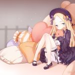 1girl abigail_williams_(fate/grand_order) bangs black_bow black_dress black_footwear black_hat blonde_hair bloomers blue_eyes blush bow butterfly closed_mouth commentary_request dress eyebrows_visible_through_hair fate/grand_order fate_(series) forehead hair_bow hands_in_sleeves hat heart heart_pillow knees_together_feet_apart kotoba_(610430468) long_hair long_sleeves looking_at_viewer mary_janes object_hug orange_bow parted_bangs pigeon-toed pillow polka_dot polka_dot_bow shoes sitting solo stuffed_animal stuffed_toy teddy_bear underwear very_long_hair white_bloomers