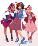 3girls ;d alternate_hairstyle bliss_barson blue_eyes bow breasts brown_hair bubble_blowing chewing_gum cryamore dark_skin deseret_amoir earrings eyeshadow flat_chest full_body hair_bow hairband hand_in_pocket highres hoop_earrings jacket jewelry large_breasts letterman_jacket lipstick long_skirt looking_at_viewer makeup mole mole_under_eye multiple_girls one_eye_closed open_mouth pink_hair pumps purple_hair robert_porter signature skirt smile socks sorbet_la_carelle standing very_dark_skin