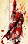 1girl alternate_costume artoria_pendragon_(all) blonde_hair dress fate/grand_order fate_(series) flower fudo_shin full_body green_eyes hair_between_eyes hair_ribbon hairband highres holding holding_weapon japanese_clothes kimono looking_at_viewer nero_claudius_(fate) nero_claudius_(fate)_(all) obi platform_clogs red_dress ribbon saber sandals sash socks solo standing sword type-moon weapon