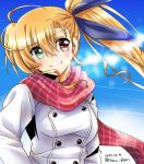 1girl asymmetrical_bangs bangs blonde_hair blue_ribbon breath casual closed_mouth clouds cloudy_sky condensation_trail dasuto dated day drill_hair drill_locks eyebrows_visible_through_hair green_eyes hair_ribbon hands_in_pockets head_tilt heterochromia highres long_hair looking_at_viewer lyrical_nanoha mahou_shoujo_lyrical_nanoha_vivid older outdoors red_eyes red_scarf ribbon scarf side_ponytail sky smile solo standing twitter_username upper_body vivio white_coat winter_clothes