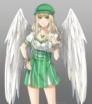 1girl angel_wings annabel-m blonde_hair blush breasts cleavage closed_mouth commission contrapposto feathered_wings flower gradient gradient_background green_eyes green_hat green_skirt grey_background hat high-waist_skirt jewelry long_hair looking_at_viewer medium_breasts necklace original puffy_short_sleeves puffy_sleeves short_sleeves skirt smile solo standing thigh-highs twitter_username wings wristband