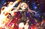 1girl :d black_cape black_dress black_panties blonde_hair bow breasts brown_eyes cape commentary_request cowboy_shot crown cura dress earrings ereshkigal_(fate/grand_order) eyebrows_visible_through_hair fate/grand_order fate_(series) fire fur_trim hair_bow jewelry medium_breasts open_mouth panties red_bow smile solo sparks standing thigh-highs tohsaka_rin two_side_up underwear