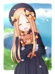 1girl :d abigail_williams_(fate/grand_order) bangs black_bow black_dress black_hat blonde_hair blue_sky blush bow butterfly closed_eyes clouds cloudy_sky commentary_request crying day dress eyebrows_visible_through_hair facing_viewer fate/grand_order fate_(series) hair_bow hands_in_sleeves hat horizon karu_(qqqtyann) long_hair long_sleeves object_hug ocean open_mouth orange_bow parted_bangs polka_dot polka_dot_bow sky smile solo stuffed_animal stuffed_toy tears teddy_bear very_long_hair