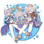 1boy 1girl album_cover animal_ears blade_(galaxist) blue_eyes blush cat cat_ears cat_tail catboy cover drum hairband highres instrument ledo_vassar light_blue_hair long_hair lucille_aleister official_art one_eye_closed open_mouth pop-up_story school_uniform shiroe_adele silver_hair skirt smile sparkle tail thigh-highs trumpet violin white_legwear