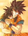 2boys ake_(ake54) black_eyes black_hair closed_eyes dougi dragon_ball dragonball_z eyebrows_visible_through_hair father_and_son happy hug looking_at_another male_focus multiple_boys one_eye_closed orange_background simple_background smile son_gokuu son_goten spiky_hair traditional_media watercolor_(medium) wristband
