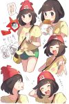 2girls bag beanie black_eyes black_hair closed_eyes eating green_shorts handbag hat highres lillie_(pokemon) malasada mizuki_(pokemon_sm) multiple_girls open_mouth outstretched_arm pokedex pokemon pokemon_(game) pokemon_sm red_hat rotom rotom_dex shirt short_hair short_sleeves shorts simple_background tied_shirt unadayoo00 white_background z-ring