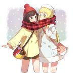 2girls alternate_costume bag black_eyes black_hair blonde_hair coat fur_trim green_eyes green_shorts handbag hat highres lillie_(pokemon) long_hair mizuki_(pokemon_sm) multiple_girls open_mouth pokemon pokemon_(game) pokemon_sm red_hat scarf shared_scarf short_hair shorts tuque unadayoo00 white_hat winter_clothes winter_coat