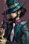 1boy beard black_hair brown_background cigarette collared_shirt covered_eyes facial_hair fingernails green_hat green_jacket gun handgun hankuri hat jacket jigen_daisuke long_sleeves lupin_iii male_focus mouth_hold necktie purple_shirt revolver shirt simple_background smoke smoking smoking_gun solo top_hat trigger_discipline upper_body weapon white_neckwear wing_collar