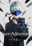 1boy 55level black_feathers black_gloves blindfold character_name choker copyright_name covered_eyes cube gloves highres light_smile nier_(series) nier_automata silver_hair solo yorha_no._9_type_s