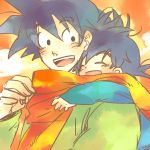 2boys :d ake_(ake54) black_eyes black_hair blue_shirt blush blush_stickers closed_eyes dragon_ball dragonball_z eyebrows_visible_through_hair father_and_son green_shirt happy hug hug_from_behind looking_at_another looking_back lowres multiple_boys open_mouth scarf shirt short_hair smile son_gokuu son_goten spiky_hair traditional_media watercolor_(medium)