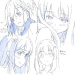 1girl adjusting_hair azumi_akitake character_sheet color_trace eromanga_sensei highres izumi_sagiri long_hair monochrome portrait sketch