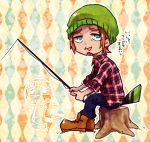 1boy beard boots brown_hair doubutsu_no_mori facial_hair feathers fishing_rod green_eyes hat jokkii_(doubutsu_no_mori) male_focus open_mouth personification sb0sg sitting solo