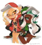 2girls ava-riel black_hair black_shirt blonde_hair crop_top dark_skin freckles green_eyes highres hime_(splatoon) iida_(splatoon) invisible_chair jacket letterman_jacket looking_at_viewer midriff multiple_girls nail_polish octarian prototype shirt simple_background sitting smile splatoon splatoon_2 tumblr_username v white_background yellow_eyes yellow_nails