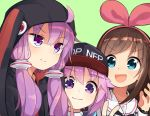 3girls a.i._channel amakoke blue_eyes bow brown_hair choker hair_ornament hat hood kizuna_ai long_hair multiple_girls neptune_(choujigen_game_neptune) neptune_(series) open_mouth smile upper_body v vocaloid voiceroid yuzuki_yukari