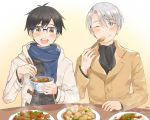 2boys :d big_cat_shan black_hair blue-framed_eyewear blue_eyes bowl brown_eyes chopsticks coat eating food glasses katsuki_yuuri male_focus meat multiple_boys one_eye_closed open_mouth plate rice scarf silver_hair smile table viktor_nikiforov yuri!!!_on_ice