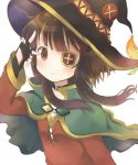 1girl blush borrowed_garments brown_eyes brown_hair capelet collar commentary eyepatch fingerless_gloves gloves hat highres kono_subarashii_sekai_ni_shukufuku_wo! megumin short_hair_with_long_locks solo upper_body v_over_eye white_background witch_hat yuno_(suke_yuno)