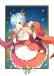 1girl animal_ears antlers blue_eyes blue_hair breasts breath brown_gloves commentary_request detached_collar detached_sleeves dress eyes_visible_through_hair frilled_dress frills gloves hairband holding_bag holding_letter medium_breasts open_mouth outside_border pink_ribbon re:zero_kara_hajimeru_isekai_seikatsu red_hairband reindeer_antlers reindeer_ears rem_(re:zero) ribbon short_hair snowflakes solo standing star wide_sleeves wind