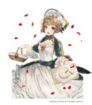 1girl :d basket bonnet braid breasts brown_hair cheese_wheel cleavage cutting_board dress frilled_sleeves frills gloves laurelfalcon looking_at_viewer medium_breasts official_art open_mouth petals short_hair sid_story smile standing watermark white_dress white_gloves