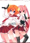 2girls absurdres bangs black_legwear blue_eyes bow breasts character_request dual_wielding eyebrows_visible_through_hair gun hair_bow hair_ornament handgun hidan_no_aria highres holding holding_weapon kobuichi long_hair multiple_girls official_art orange_hair pink_hair pleated_skirt red_eyes red_skirt scan school_uniform serafuku short_hair simple_background skirt small_breasts thigh-highs translation_request trigger_discipline very_long_hair weapon white_background zettai_ryouiki
