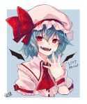 1girl absurdres ascot bat_wings blue_hair bow commentary_request fangs hat hat_bow highres kneesocks_senritsu looking_at_viewer mob_cap puffy_short_sleeves puffy_sleeves red_bow red_eyes red_neckwear remilia_scarlet short_hair short_sleeves slit_pupils solo touhou translation_request upper_body wings wrist_cuffs