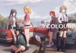 6+girls black_hair blonde_hair blue_eyes blue_hair blue_sky brown_hair car casual clouds drinking_cup green_eyes grey_hair ground_vehicle hair_rings hime_cut huanxiang_heitu indian_style jacket kunikida_hanamaru kurosawa_dia kurosawa_ruby long_hair looking_at_viewer love_live! love_live!_school_idol_project love_live!_sunshine!! matsuura_kanan motor_vehicle multiple_girls ohara_mari ponytail redhead sakurauchi_riko short_hair shorts sitting sky smile suitcase sunglasses suspenders takami_chika tsushima_yoshiko twintails violet_eyes watanabe_you yellow_eyes