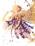 1girl abigail_williams_(fate/grand_order) bangs black_bow black_dress black_panties blonde_hair blue_eyes bow butterfly commentary_request dissolving_clothes dress fate/grand_order fate_(series) forehead hair_bow highres key long_hair long_sleeves miyuki_(miyuki0529) navel no_hat no_headwear orange_bow outstretched_arms panties parted_bangs parted_lips polka_dot polka_dot_bow sleeves_past_wrists solo underwear very_long_hair white_background