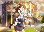 2girls carrying diana_cavendish kagari_atsuko little_witch_academia multiple_girls one_eye_closed piggyback tagme test