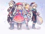 1girl 2boys ^_^ androgynous beret black_coat black_gloves blonde_hair blue_eyes boots bow charles_henri_sanson_(fate/grand_order) child closed_eyes coat fate/grand_order fate_(series) full_body fur_trim gift gloves hair_bow hat le_chevalier_d'eon_(fate/grand_order) long_hair marie_antoinette_(fate/grand_order) mini_hat mini_top_hat multiple_boys sack santa_costume santa_hat silver_hair smile star starry_background top_hat twintails wanko_(takohati8) wolfgang_amadeus_mozart_(fate/grand_order) younger