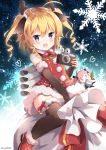 >_o 1girl ahoge animal_ears antlers azur_lane bangs black_bow black_legwear blonde_hair blue_eyes blush boots bow bow_legwear camera character_doll christmas commentary_request dress drill_hair elbow_gloves eyebrows_visible_through_hair fake_mustache fur-trimmed_boots fur-trimmed_dress fur-trimmed_gloves fur-trimmed_legwear fur_collar fur_trim gloves gridley_(azur_lane) hair_bow heart holly looking_at_viewer machinery neck_ribbon niwasane_(saneatsu03) one_eye_closed pink_hair pom_pom_(clothes) red_dress red_footwear red_ribbon reindeer_antlers reindeer_ears ribbon rigging sack santa_costume saratoga_(azur_lane) sitting sitting_on_object sleeveless snowflake_background solo thigh-highs twintails twitter_username two_side_up