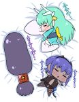 3girls absurdly_long_hair absurdres assassin_(fate/prototype_fragments) bangs bed black_gloves black_legwear black_leotard blue_hair blue_kimono blush chibi closed_mouth commentary_request dark_skin eyebrows_visible_through_hair facing_viewer fate/grand_order fate/prototype fate/prototype:_fragments_of_blue_and_silver fate_(series) gloves green_hair hair_ornament hairband highres horns japanese_clothes kimono kiyohime_(fate/grand_order) leotard long_hair low-tied_long_hair minamoto_no_raikou_(fate/grand_order) multiple_girls navel obi outstretched_arms parted_lips pillow pillow_hug purple_hair rei_(rei_rr) sash short_hair sleeping smile spread_arms thigh-highs translation_request very_long_hair white_legwear