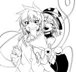 2girls :d absurdres bangs blush blush_stickers bow closed_eyes closed_mouth eyebrows_visible_through_hair greyscale hand_on_another's_face hat hat_bow heart highres himajin_no_izu komeiji_koishi komeiji_satori long_sleeves looking_at_viewer monochrome multiple_girls open_mouth short_hair simple_background smile sweat third_eye touhou white_background