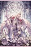 1boy bandaged_feet barefoot border crown feathered_wings flower full_body highres loose_necktie low_wings male_focus necktie original pants pillar red_rose rose ruins seol shield shirt solo spread_legs sword weapon white_feathers white_hair white_pants white_shirt wings