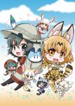 >_< 6+girls :d ^_^ ^o^ alpaca_ears alpaca_suri_(kemono_friends) alpaca_tail animal_ears aqua_hair backpack bag black_eyes black_hair black_legwear blonde_hair blue_sky blush brown_eyes brown_hair chibi closed_eyes clouds cloudy_sky commentary_request common_raccoon_(kemono_friends) cup elbow_gloves fennec_(kemono_friends) flying food fox_ears fox_tail gloves gradient_hair hat head_wings highres holding hood hooded_jacket in_bag in_container jacket japanese_crested_ibis_(kemono_friends) japari_bun kaban_(kemono_friends) kemono_friends long_hair looking_at_viewer lucky_beast_(kemono_friends) multicolored_hair multiple_girls noai_nioshi open_mouth pantyhose paw_pose pleated_skirt raccoon_ears raccoon_tail red_legwear scarf serval_(kemono_friends) serval_ears serval_print serval_tail shirt short_hair shorts silver_hair silver_legwear skirt sky smile t-shirt tail teacup thigh-highs tsuchinoko_(kemono_friends) white_hair white_legwear xd yellow_eyes yellow_legwear zettai_ryouiki