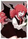 1girl azumaya_toushirou black_skirt black_wings book breasts demon_wings fangs glasses grey_background hair_between_eyes head_wings highres holding holding_book koakuma long_hair long_sleeves looking_at_viewer medium_breasts miniskirt necktie open_mouth red_eyes red_neckwear redhead skirt skirt_set smile solo touhou vest wings