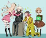 1girl ahoge alter_ego black_legwear blonde_hair braid brown_eyes brown_hair choker computer crossdressing danganronpa danganronpa_1 fujisaki_chihiro gb_(jat_gombee) gloves goggles goggles_on_head green_eyes iruma_miu jumpsuit keebo kneehighs laptop long_hair male_focus new_danganronpa_v3 open_mouth pink_eyes pink_hair robot school_uniform serafuku short_hair skirt smile souda_kazuichi super_danganronpa_2 trap white_hair