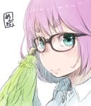1girl adjusting_eyewear black-framed_eyewear blue_eyes blue_shirt blush claws closed_mouth collared_shirt face feathered_wings glasses harpy looking_at_viewer looking_to_the_side monster_girl nukomasu original pink_hair pink_lips shirt short_eyebrows short_hair simple_background smile solo white_background wing_collar wings