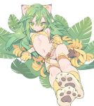 1girl animal_ears banana bangs belt blade_(galaxist) bow bow_panties bra breasts copyright_request eyebrows_visible_through_hair food fruit gloves green_eyes green_hair hair_between_eyes leaf long_hair looking_at_viewer navel panties parted_lips paw_boots paw_gloves paws reclining small_breasts solo tail underwear white_panties yellow_bra