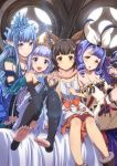 4girls :d animal_ears aster_(granblue_fantasy) bangs bare_shoulders betor_(granblue_fantasy) black_legwear blue_eyes blue_hair blunt_bangs blush breasts brown_eyes brown_footwear brown_hair closed_mouth collarbone commentary_request curly_hair detached_sleeves dress erin_(granblue_fantasy) erun_(granblue_fantasy) eyebrows_visible_through_hair frilled_sleeves frills fur_trim girl_sandwich granblue_fantasy hair_twirling hairband hand_holding hand_on_another's_shoulder head_tilt highres indoors keepvalley kneeling lavender_hair lens_flare lily_(granblue_fantasy) long_hair looking_at_viewer medium_breasts multiple_girls on_bed open_mouth pointy_ears purple_hair sandwiched sitting smile sunlight thigh-highs toeless_legwear toenails v-shaped_eyebrows white_dress window