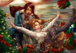 2girls artist_name black_hair black_pants blonde_hair blue_coat blue_eyes boots bow box breasts brown_eyes brown_hair candy candy_cane christmas christmas_lights christmas_tree coat commentary dark_skin deviantart_username eye_of_horus facial_mark facial_tattoo food gift gift_box hair_tubes interracial long_hair long_sleeves medium_breasts mercy_(overwatch) multiple_girls nose one_eye_closed open_clothes open_coat open_mouth overwatch pants parted_lips peppermint pharah_(overwatch) raphire red_bow red_lips shirt shopping shopping_cart short_hair side_braids sweater tattoo thigh-highs thigh_boots turtleneck turtleneck_sweater watermark web_address white_shirt white_sweater winter wrapped_candy